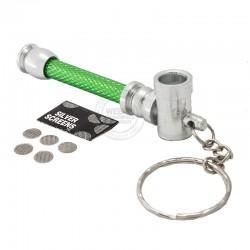 Wietpijp sleutelhanger groen