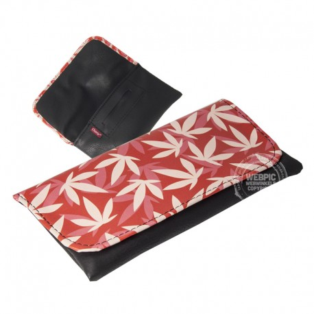 Tobacco Pouch Leafs rood